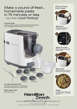 Hamilton Beach Automatic PASTA MAKER Electric Noodle Machine WHITE Press 7 types