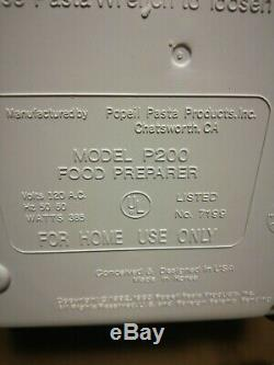 Pasta Maker Popeil Ronco Model P200 Food Preparer Homemade Automatic Machine