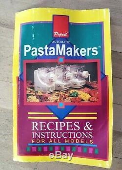 Ronco Popeil Automatic Pasta Maker Machine w Attachments P200 + Recipe Book