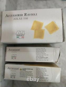 3 Accessoires Marcato Pour La Machine À Pâtes Atlas 150 Ravioli Linguine Spaghetti