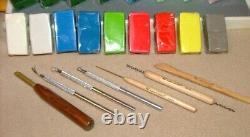 Énorme Lot Sculpey, Fimo, Push Molds, Sculpture Tools, 4 Comment 2 Livres, Machine À Pâtes