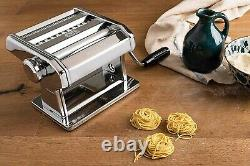 Marcato 8320 Atlas 150 Pasta Machine, Comprend Coupeur De Pâtes Et Manivelle D'argent