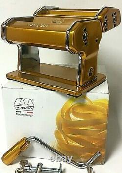 Marcato Atlas Pasta Machine Stainless Steel Gold Italy With Hand Crank