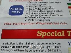 Popeil P400 Ronco Automatique Machine Fabricant De Pâtes 24 Dies Accessoires + Livre